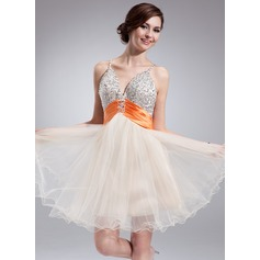Empire V-neck Knee-Length Tulle Homecoming Dress With Ruffle Sash Beading Sequins
