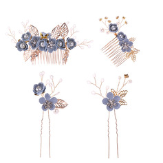 Ladies Charming Alloy/Resin Hairpins/Combs & Barrettes With Venetian Pearl (Set of 4) (042225029)
