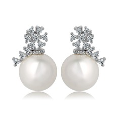 Nice Pearl/Zircon/Platinum Plated Ladies' Earrings