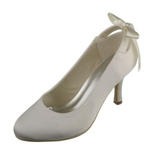 Women's Satin Stiletto Heel Closed Toe Pumps With Ribbon Tie (047060722)