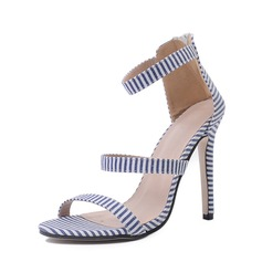 Women's Denim Stiletto Heel Sandals Pumps Peep Toe With Buckle shoes