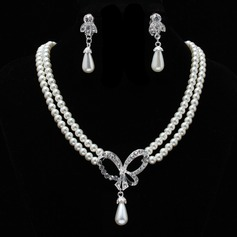 Elegant Pearl With Rhinestone Jewelry Sets