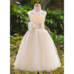 A-Line/Princess Ankle-length Flower Girl Dress - Satin/Tulle/Lace Sleeveless Square Neckline With Beading/Flower(s) (010071495)