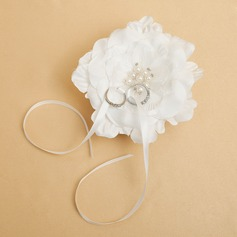 Grace Ring Pillow in Satin With Ribbons/Faux Pearl/Flowers