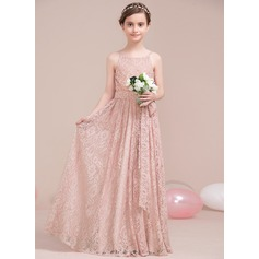 A-Line/Princess Scoop Neck Floor-Length Lace Junior Bridesmaid Dress With Bow(s) (009106856)