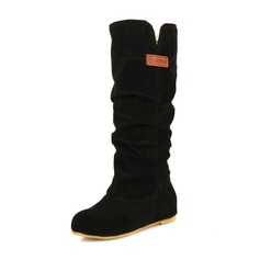 Frauen Veloursleder Flascher Absatz Flache Schuhe Geschlossene Zehe Stiefel Stiefel-Wadenlang mit Rüschen Schuhe