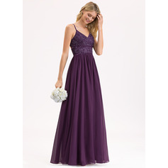 A-Line V-neck Floor-Length Chiffon Lace Bridesmaid Dress With Beading Sequins (007206465)