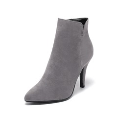 Women's Suede Stiletto Heel Pumps Closed Toe Boots Ankle Boots shoes (088095294)
