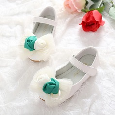 Girl's Leatherette Flat Heel Round Toe Closed Toe Mary Jane Flats With Bowknot Satin Flower Velcro