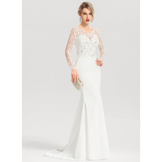 Trumpet/Mermaid V-neck Sweep Train Stretch Crepe Wedding Dress With Beading Sequins (002207427)