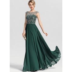 A-Line Scoop Neck Floor-Length Chiffon Prom Dresses With Beading Sequins (018163269)