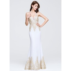 Trumpet/Mermaid Halter Floor-Length Tulle Lace Prom Dress With Beading Appliques Lace (018076506)