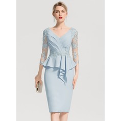 Sheath/Column V-neck Knee-Length Stretch Crepe Cocktail Dress With Appliques Lace Cascading Ruffles (016154245)