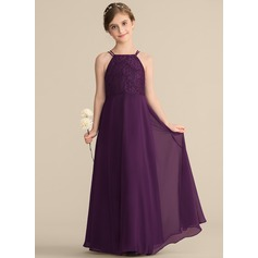 A-Line/Princess Square Neckline Floor-Length Chiffon Lace Junior Bridesmaid Dress