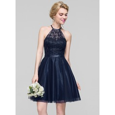 A-Line Scoop Neck Knee-Length Tulle Bridesmaid Dress With Beading Sequins