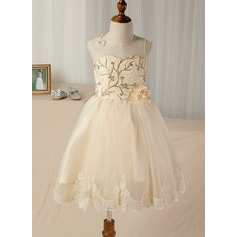 A-Line/Princess Tea-length Flower Girl Dress - Tulle/Lace Sleeveless Scoop Neck With Appliques (010130862)