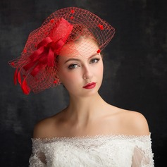 Ladies' Classic Feather/Net Yarn/Lace/Tulle/Linen With Feather Fascinators (196105111)