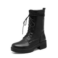 Femmes PU Talon bas Escarpins Plateforme Bottines avec Dentelle chaussures