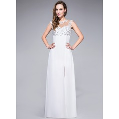 Sheath/Column Scoop Neck Floor-Length Chiffon Prom Dress With Lace Beading Sequins Split Front