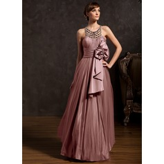 A-Line/Princess Scoop Neck Floor-Length Tulle Holiday Dress With Ruffle Beading