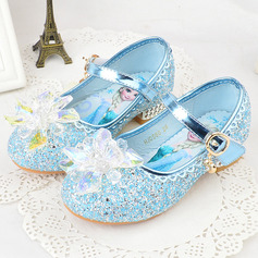Flicka rund tå sparkling blänker Flower Girl Shoes med Kristall