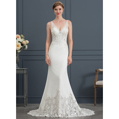 Trumpet/Mermaid V-neck Court Train Stretch Crepe Wedding Dress (002171958)