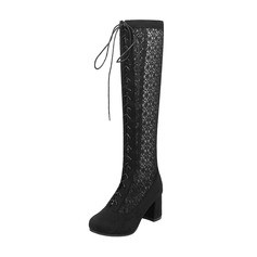 Women's Suede Lace Chunky Heel Boots Knee High Boots With Lace-up shoes