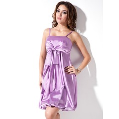 Empire Short/Mini Charmeuse Homecoming Dress With Ruffle Bow(s) (022003377)