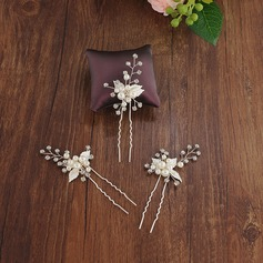 Beautiful Alloy Hairpins With Venetian Pearl (Set of 3)