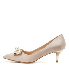 Women's Silk Like Satin Chunky Heel Closed Toe Pumps With Bowknot