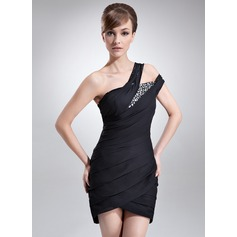 Sheath/Column One-Shoulder Asymmetrical Chiffon Cocktail Dress With Ruffle Beading