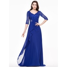 A-Line/Princess V-neck Sweep Train Mother of the Bride Dress With Lace Beading Sequins Cascading Ruffles (008065593)