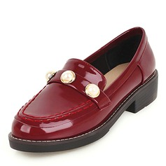 Women's Leatherette Patent Leather Flat Heel Flats With Rhinestone shoes