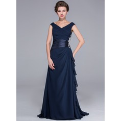 A-Line/Princess Off-the-Shoulder Sweep Train Chiffon Mother of the Bride Dress With Beading Appliques Lace Cascading Ruffles (008026072)