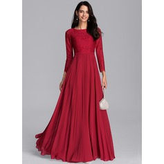 A-Line Scoop Neck Floor-Length Chiffon Evening Dress With Pleated