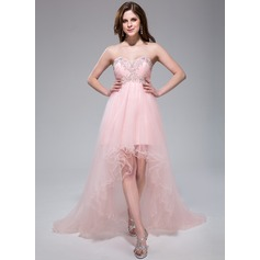 Empire Sweetheart Asymmetrical Tulle Prom Dresses With Ruffle Beading Appliques Lace Sequins