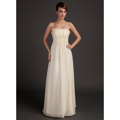 A-Line/Princess Floor-Length Chiffon Holiday Dress With Ruffle Beading Flower(s)