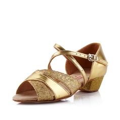 Women's Kids' Leatherette Sandals Latin With Ankle Strap Dance Shoes