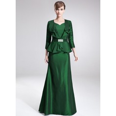 A-Line/Princess V-neck Floor-Length Taffeta Mother of the Bride Dress With Cascading Ruffles