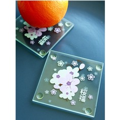 """Tea Time""/Lovely Square Glass Tea Party Favors/Coaster"