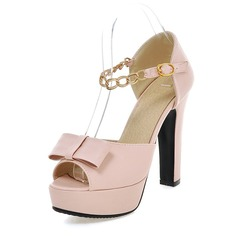 Women's Leatherette Chunky Heel Pumps Platform With Bowknot shoes