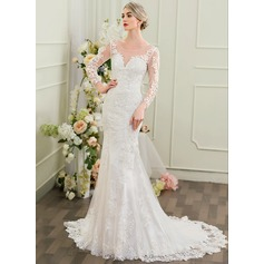 Trumpet/Mermaid Scoop Neck Court Train Lace Wedding Dress With Beading Sequins (002095843)
