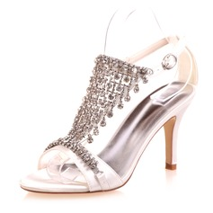 Women's Satin Stiletto Heel Peep Toe Sandals With Buckle Rhinestone (047071396)