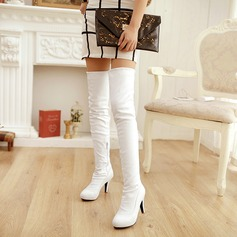 Women's PU Stiletto Heel Pumps Platform Boots Over The Knee Boots With Zipper shoes