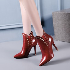 Women's PU Stiletto Heel Pumps Boots With Rivet shoes