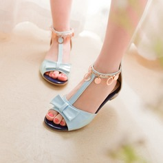 Women's Leatherette Flat Heel Sandals Flats Peep Toe With Bowknot Sequin shoes
