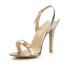 Women's Patent Leather Stiletto Heel Sandals Slingbacks With Rhinestone shoes (087016473)