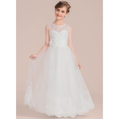 A-Line/Princess Floor-length Flower Girl Dress - Tulle/Lace Sleeveless Scoop Neck With Beading/Flower(s) (010136604)