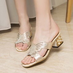 Women's PU Chunky Heel Sandals Pumps Peep Toe With Rhinestone Imitation Pearl Jewelry Heel shoes