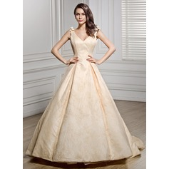 Ball-Gown V-neck Chapel Train Lace Wedding Dress With Bow(s) (002056450)